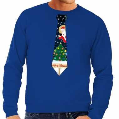 Goedkope foute kerst sweater met kerstmis stropdas blauw voor heren
