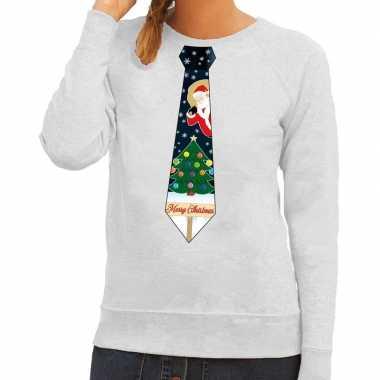 Goedkope foute kerst sweater met kerstmis stropdas grijs voor dames