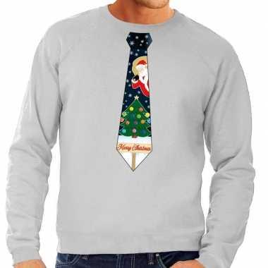 Goedkope foute kerst sweater met kerstmis stropdas grijs voor heren