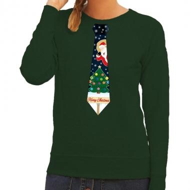 Goedkope foute kerst sweater met kerstmis stropdas groen voor dames