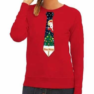 Goedkope foute kerst sweater met kerstmis stropdas rood voor dames
