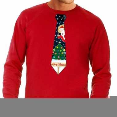 Goedkope foute kerst sweater met kerstmis stropdas rood voor heren