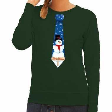 Goedkope foute kerst sweater met sneeuwpop stropdas groen voor dames