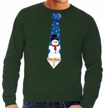 Goedkope foute kerst sweater met sneeuwpop stropdas groen voor heren