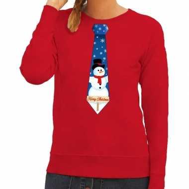Goedkope foute kerst sweater met sneeuwpop stropdas rood voor dames