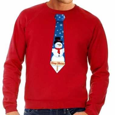 Goedkope foute kerst sweater met sneeuwpop stropdas rood voor heren
