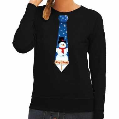Goedkope foute kerst sweater met sneeuwpop stropdas zwart voor dames