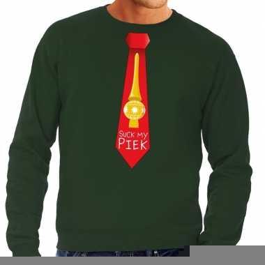 Goedkope foute kerst sweater met suck my piek stropdas groen voor her