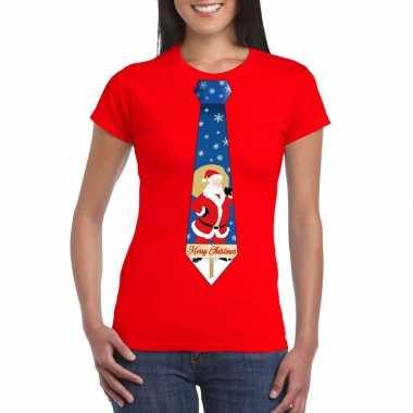 Goedkope foute kerst t shirt met kerstman stropdas rood voor dames