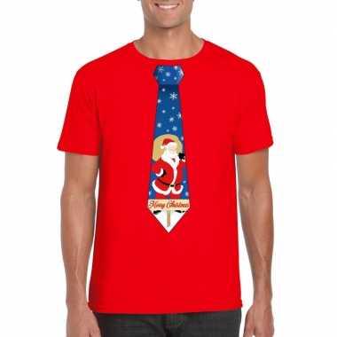 Goedkope foute kerst t shirt met kerstman stropdas rood voor heren