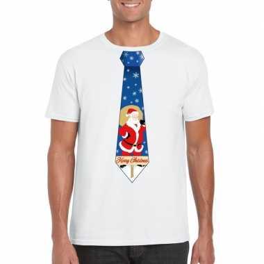 Goedkope foute kerst t shirt met kerstman stropdas wit voor heren