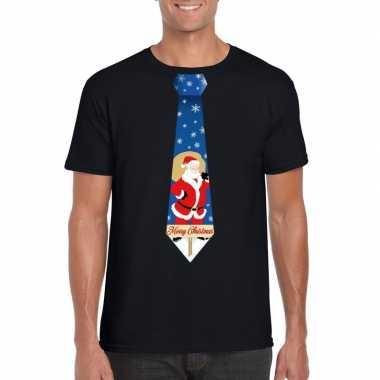 Goedkope foute kerst t shirt met kerstman stropdas zwart voor heren