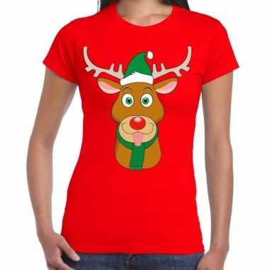 Goedkope foute kerst t shirt rood met ruldolf het rendier met groene