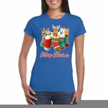 Goedkope foute kerstborrel t shirt blauw kerstsokken met diertjes voo