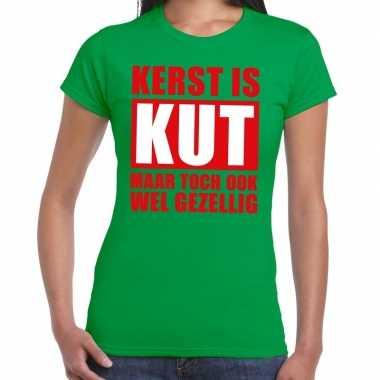 Goedkope foute kerstborrel t shirt groen kerst is kut maar ook gezell