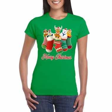 Goedkope foute kerstborrel t shirt groen kerstsokken met diertjes voo