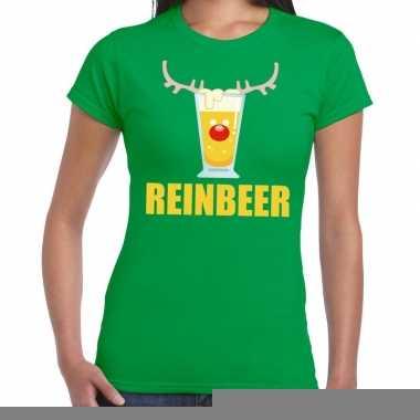 Goedkope foute kerstborrel t shirt groen reinbeer dames