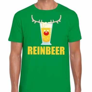 Goedkope foute kerstborrel t shirt groen reinbeer heren