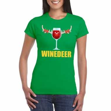Goedkope foute kerstborrel t shirt groen winedeer dames