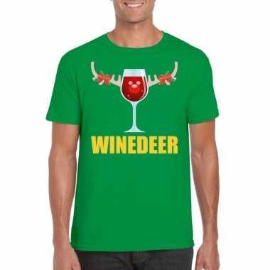 Goedkope foute kerstborrel t shirt groen winedeer heren
