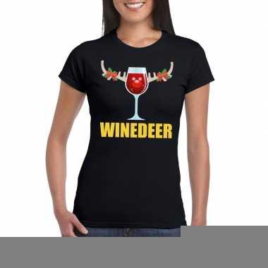 Goedkope foute kerstborrel t shirt zwart winedeer dames