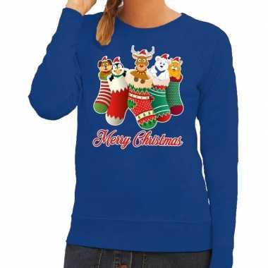 Goedkope foute kerstborrel trui blauw kerstsokken met diertjes voor d