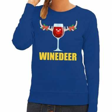 Goedkope foute kerstborrel trui blauw winedeer dames