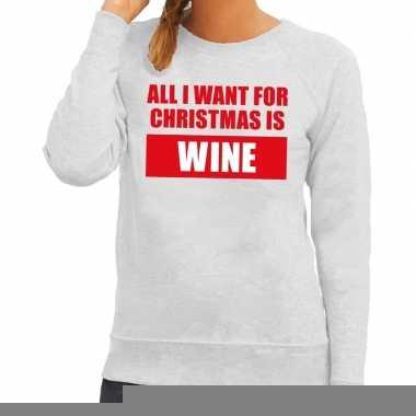 Goedkope foute kerstborrel trui grijs all i want is wine dames