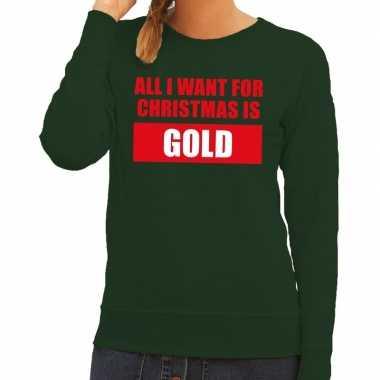 Goedkope foute kerstborrel trui groen all i want is gold dames
