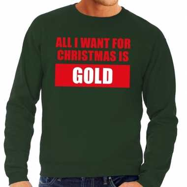 Goedkope foute kerstborrel trui groen all i want is gold heren