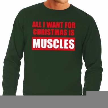 Goedkope foute kerstborrel trui groen all i want is muscles heren