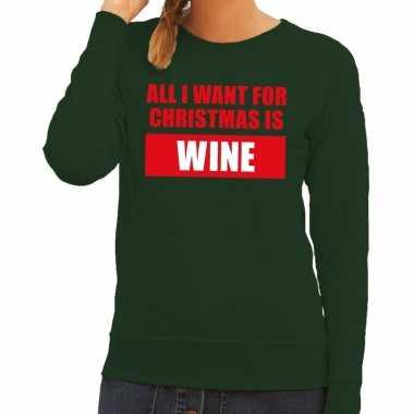 Goedkope foute kerstborrel trui groen all i want is wine dames
