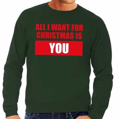 Goedkope foute kerstborrel trui groen all i want is you heren