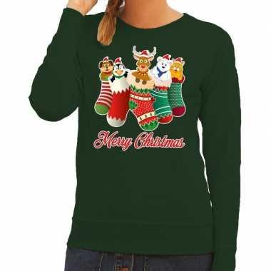 Goedkope foute kerstborrel trui groen kerstsokken met diertjes voor d