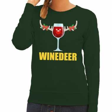 Goedkope foute kerstborrel trui groen winedeer dames