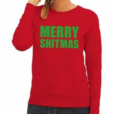 Goedkope foute kerstborrel trui rood merry shitmas dames