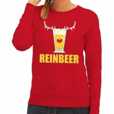 Goedkope foute kerstborrel trui rood reinbeer dames
