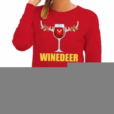 Goedkope foute kerstborrel trui rood winedeer dames
