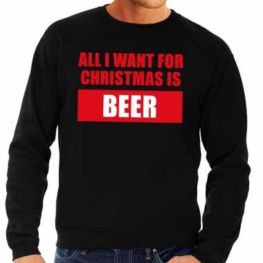 Goedkope foute kerstborrel trui zwart all i want is beer heren