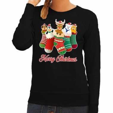 Goedkope foute kerstborrel trui zwart kerstsokken met diertjes voor d