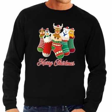 Goedkope foute kerstborrel trui zwart kerstsokken met diertjes voor h