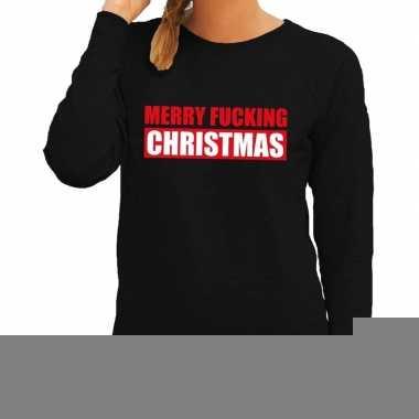 Goedkope foute kerstborrel trui zwart merry fucking christmas dames