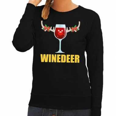 Goedkope foute kerstborrel trui zwart winedeer dames