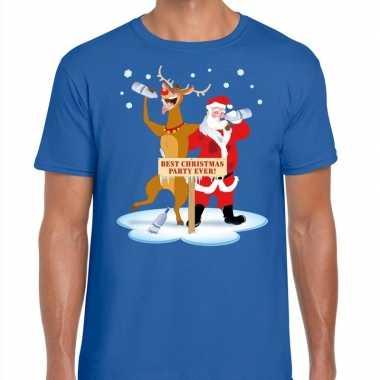 Goedkope foute kerstmis shirt blauw met een dronken kerstman en rudol