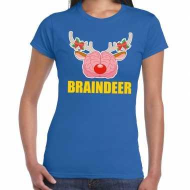 Goedkope foute kerstmis t shirt braindeer blauw voor dames