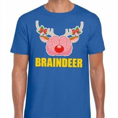 Goedkope foute kerstmis t shirt braindeer blauw voor heren