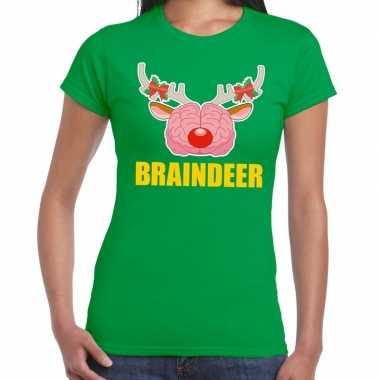 Goedkope foute kerstmis t shirt braindeer groen voor dames