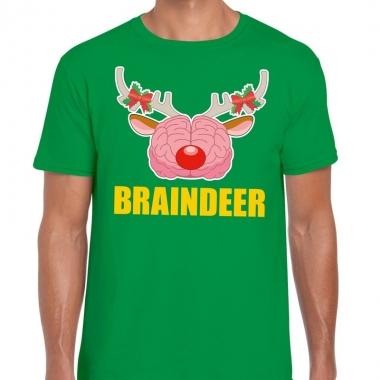 Goedkope foute kerstmis t shirt braindeer groen voor heren