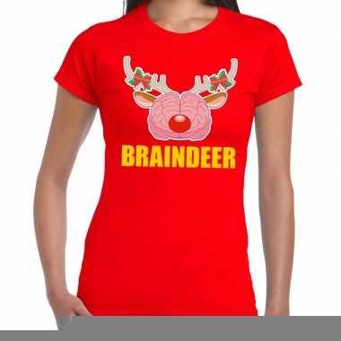 Goedkope foute kerstmis t shirt braindeer rood voor dames