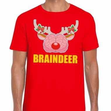 Goedkope foute kerstmis t shirt braindeer rood voor heren